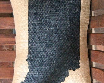 Hand Painted State of Indiana on Burlap Pillow - FREE SHIPPING