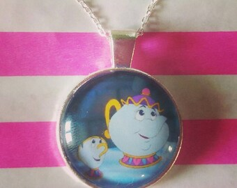Mrs Potts and Chip necklace Beauty and the Beast Disney inspired necklace
