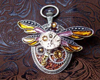 Steampunk Pin (P806) Dragonfly Brooch, Hand Painted Acrylic, Gears and Swarovski Crystals, Amber, Yellow, Gold, Aurora Borealis
