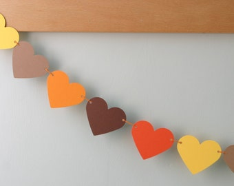 My 'I Love Autumn' Hearts Bunting, Fall Garland, Thanksgiving Decor, Harvest Festival, Paper Party Decoration, Fall Colors, Love Hearts