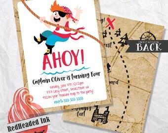 Ahoy! - Pirate Birthday Invitation