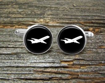 Airplane  Aviation Silver or Gold-Cufflinks-Wedding-Jewelry Box-Keepsake-GiftMan-Men Gift-USA-Science-Pilot-Flying-Groom-Commercial Airliner