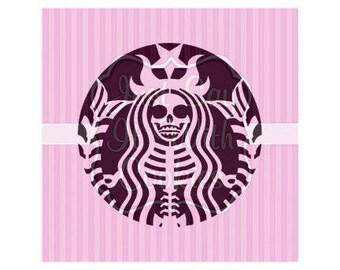 """Halloween Coffee Siren Cookie Stencil 5.5 x 5.5"""" Stencil"""