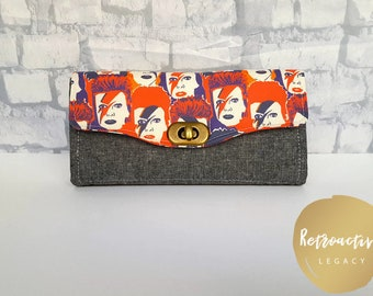 Custom Made David Bowie Wallet - Ziggy Stardust Clutch Wallet - Handmade Accordion Wallet - Ziggy Stardust Accordion Wallet