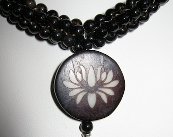 Lotus Pendant with Agate Beaded Sleeves Necklace - FREE SHIPPING