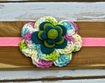 Pink & Green St. Patrick's Day Crocheted Flower Headband - Shabby Chic - Newborn - Girls - Spring - Birthday - Special Occasion - Party