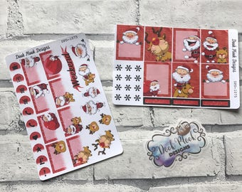 Christmas  Santa and Rudolph stickers (week pack) for Erin Condren Vertical (DPD1075)