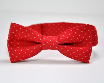 Men's Bow Tie, Red and Gold Bowtie, Christmas Tie, New Year's Eve Bow Tie, Self Tie Bow Tie, Polka Dot Tie