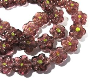 Purple Glass Flower Beads Lampwork Strand (24 Beads) Purple Glass FLOWER Beads Wedding Jewelry Beading Mosaic Supplies Flowers (N39)