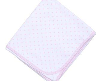 Personalized baby blanket - monogrammed baby blanket - pink gingham dots blanket - personalized baby shower present -baby girl blanket