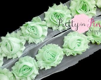 Light Pastel GREEN Shabby Rose Trim -Shabby Chiffon Rosettes - 1/2 Yard or 1 Yard - Shabby Flower - Wholesale Shabby Flower - Chiffon Flower