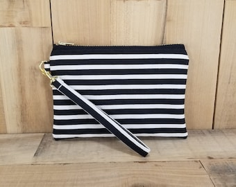 Black Striped Wristlet, Wristlet, Striped Clutch, Wristlet Wallet, Monogrammed Wristlet, Clutch, Gift for Her, Gift for Mom, Travel Bag