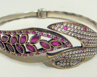Vintage Ruby Bracelet,Ruby Cuff Bracelet, Ruby Clamper Bracelet - Silver,Size 6.5 To 8,Ruby Bangle Bracelet,July Birthstone,Unique,Beautiful