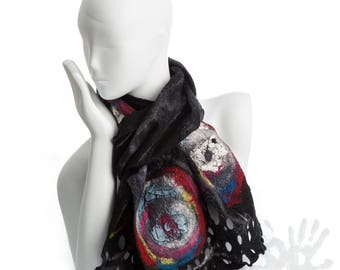 Universe and beyond/ Multi-color scarf / Nunofelt Scarf / Nuno felt Silk / Handmade shawl / Merino Wool / Ready To Ship.