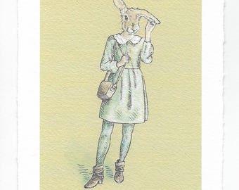 "Art Print / Rabbit Lady / ""Nervous Rabbit Habit"""