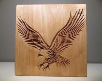 Eagle, carved eagle, chip carving, wood carving, wooden animal, wood working, handmade, wooden eagle, bald eagle, decor