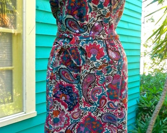 A1960s floral paisley silk dress with beadwork over selected parts,New Orleans handmade one of a kind