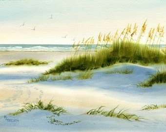 Dunescape with Sand Dunes, Sea Oats and Ocean