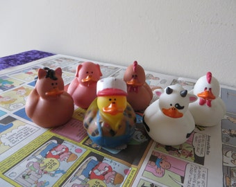 Farm Animal rubber ducks.- horse, chicken, cow, rooster, pig, farmer