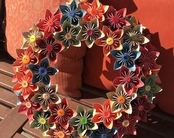 Origami Paper Flower Wreath / wedding decorations, paper flowers, origami, kusudama, origami wreath, paper wreath, origami flowers, wreath