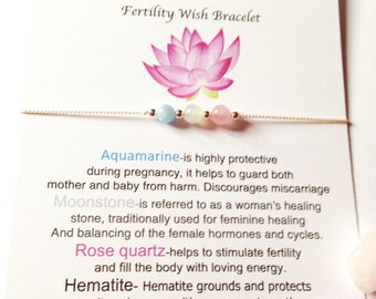 Fertility bracelet gift,  IVF, Fertility, Gemstone healing bracelet, Pregnancy, Dainty bracelet, Adjustable silver bracelet, Hormone balance