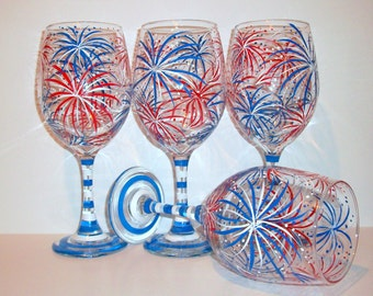 Fireworks July 4th Hand Painted Wine Glasses Set of 4- 21 oz. New Years Eve Independence Day 4th of July Red White and Blue Patriotic