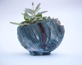 pot sur pied,jardinière, pot plante, poterie pour plante, pot rustique, boule bleue ,décoration  jardin intérieur,balcon,art floral