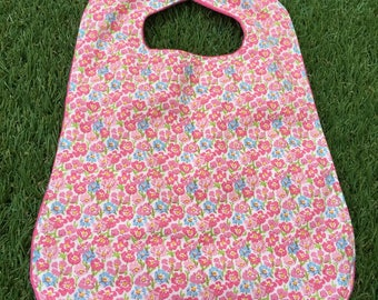 Flowers, pink, fuchsia, large bib pattern