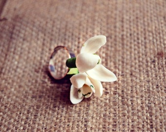 snowdrops ring, snowdrop jewelery, cold porcelain, gift for her, rustic ring, white flower ring, lilac gift, birthday women gift, birthday
