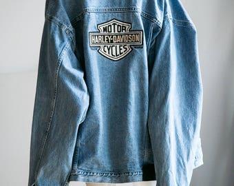 Harley Denim Jacket | Harley Davidson Denim | Harley | Harley Denim | Harley Jacket | Blue Denim Jacket | Embroidered Jacket | XXXL