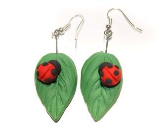 Polymer Clay Ladybug Leaf Earrings