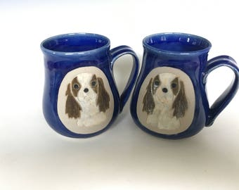 Hand Crafted Cavalier Coffee Mug Pair