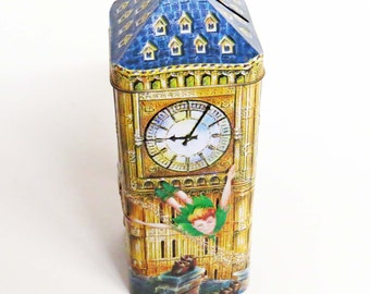 """Churchill's PETER PAN MONEY Box / Bank  / Embossed Tin by Churchill's Confectionery, England / Made in England 8"""" Tall / Great Gift"""