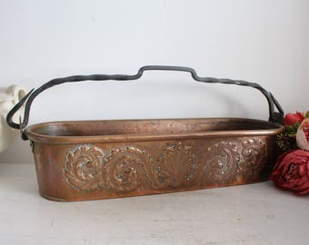 Antique French Hammered Copper Fish Pan - Villedieu - Copper Planter