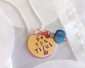 Be'you'tiful Handstamped Necklace Copper and Silver