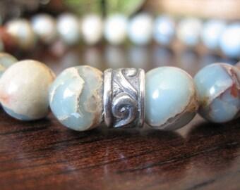 Mens Celtic Bracelet - Aqua Terra Jasper Bracelet for Men, Silver with Blue Green Stone, Nautical Mens Gift for Calmness, Hope, Courage