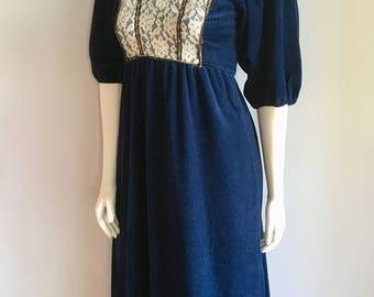 Vintage Women's 70's Boho, Prairie Dress, Full Length, Navy Blue (S)