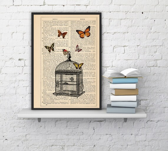 Wall hanging Poster print Release the butterflies Butterflies  and cage dictionary art, dorm decor gift, wall  BFL025