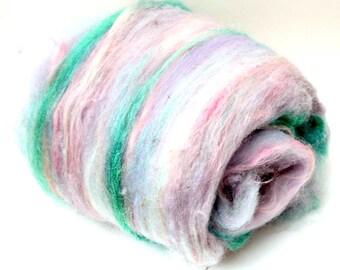 """Fiber Art Batt, fiber spinning batt, felting batt, hand dyed, blue, green, purple, drum carded, Lincoln locks, wool, nylon """"Sunsetting""""4.3oz"""