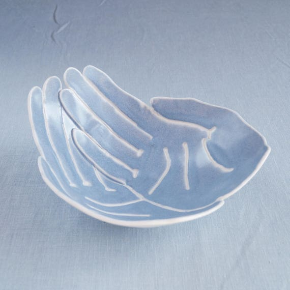 OFFERING hands bowl, life size grey blue