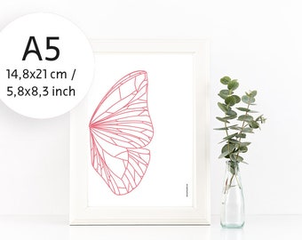 A5 Butterfly Poster, Small Print, Pink Wall Decor, Insect Wall Art, Art Poster
