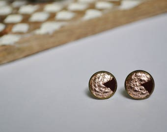 Leather Stud Earrings - Rose Gold and Maroon Suede - Antiqued brass post - Genuine Leather and Suede - Geometric - Ready to Ship