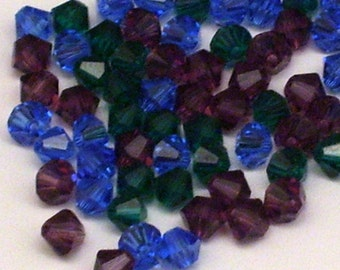 90 Assorted Jewel Toned 4mm Crystal Bicone Beads // Sapphire, Emerald, Amethyst Mix Beads