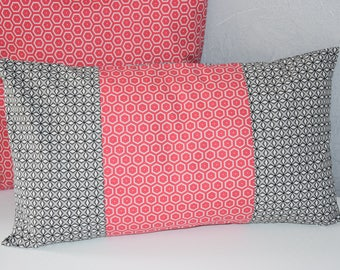 Pillow case - 50 X 30 cm - printed fabric geometric - gray, white and pink wood,