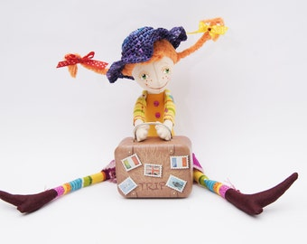 Pippi doll, Pippi Longstocking, Fabric doll, Аrt doll, Handmade Ragdoll, Birthday gift for girls, Decor children, Textile toy, Red haired