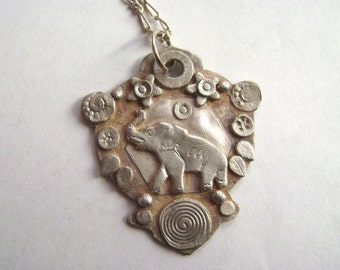 new elephant amulet pendant in sterling