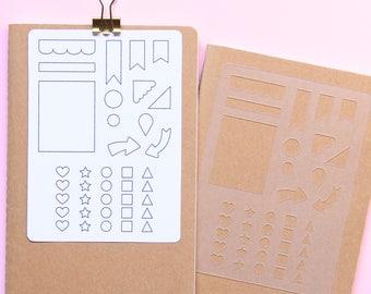 Planner Stencil, Bullet journal, Planner template, Personal planner, Habit tracker stencil, Layout stencil, Bujo stencil