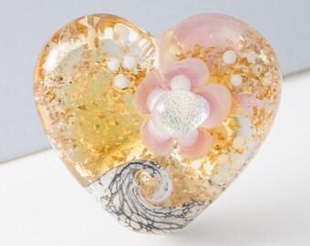 Dichroic Heart Lampwork Bead