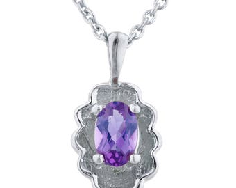 0.50 Ct Amethyst Oval Design Pendant .925 Sterling Silver