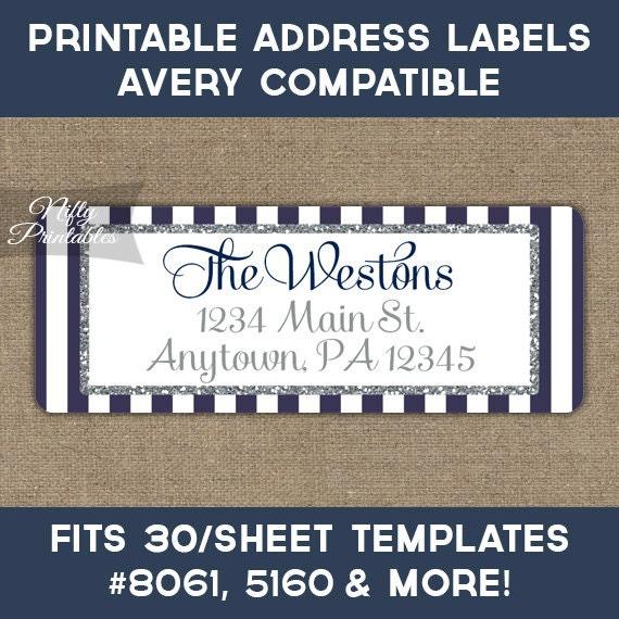 Printable Address Labels Navy Blue Silver Glitter Return